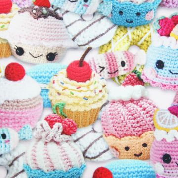 Digitale fotoprint tricot gehaakte cupcakes