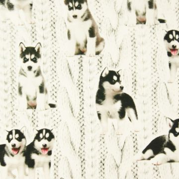 Digitale fotoprint tricot husky-puppies