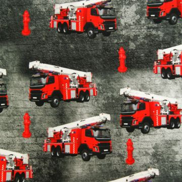 Digitale fotoprint tricot brandweerauto