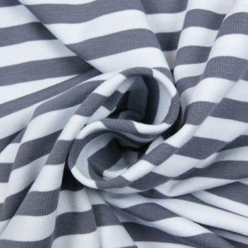 Strepen tricot grijs/wit 10mm