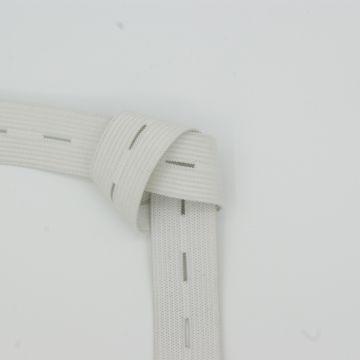 Knopfloch-Gummiband weiß 20mm