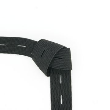 Knopfloch-Gummiband schwarz 20mm