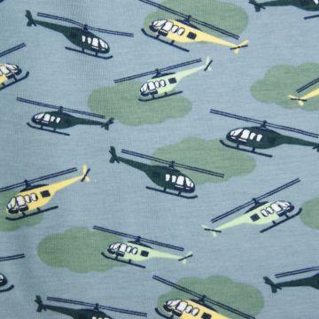 Fantasieprint tricot 'Megan Blue Fabrics' helikopters