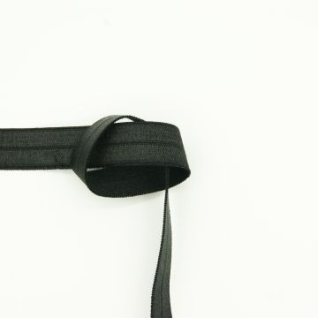 Stretch knikband satijn zwart