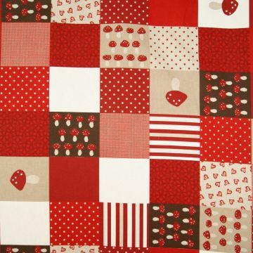 Kerststof patchwork rood