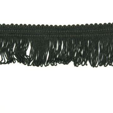 Franjeband satijn zwart 4cm lang