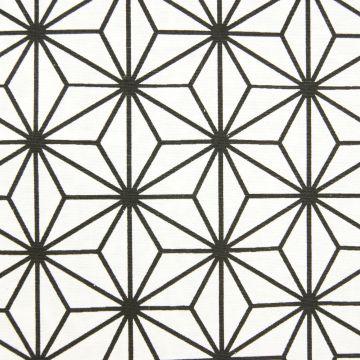 Dekostoff weiß/schwarz geometrischer Druck