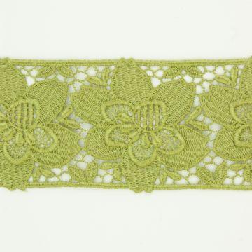 Kanten lint bloem olijfgroen 5cm